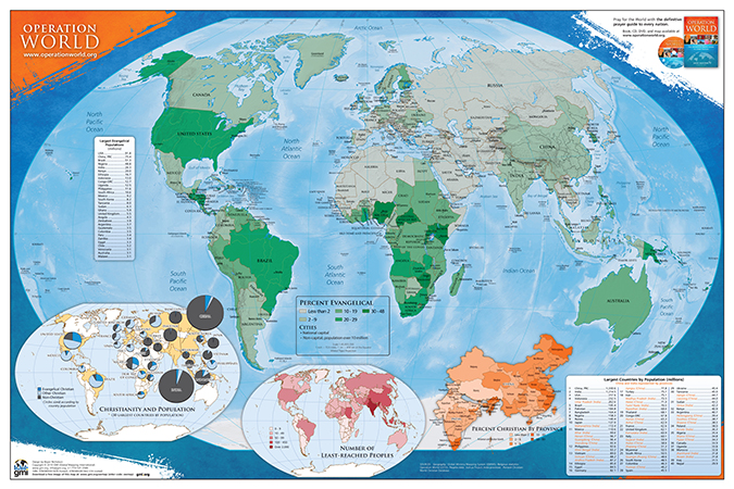 world map asia on left. Operation World map