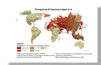A sample map portraying Evangelicals and Population Aged 4-14
