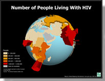 A sample 3D map of the number of people living with HIV
