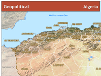 Geopolitical map of Algeria with satellite imagery