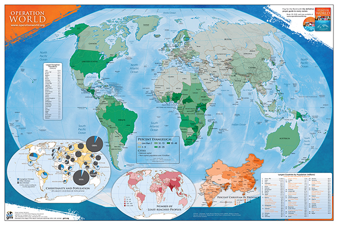 The Operation World 2010 Wall map